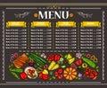 Vector illustration of a vegetarian restaurant menu design