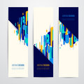 Vector illustration of vertical geometry round, diagonal and line banner set