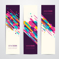 Vector illustration of vertical geometry round, diagonal and line banner set Royalty Free Stock Photo