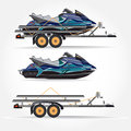 Vector illustration of water scooter and car trailer in flat style