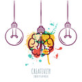 Vector illustration of watercolor human brain and outline light bulbs,  on white background. Royalty Free Stock Photo