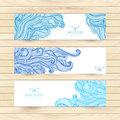 Vector illustration, wave banners with ocean waves can be used as a greeting card. Banners on wood background. Royalty Free Stock Photo