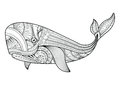 Vector illustration of whale coloring pages. Royalty Free Stock Photo