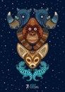 Vector illustration of wild totem animal. Rhino Royalty Free Stock Photo