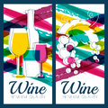 Vector illustration of wine bottle, glass, branch of grape and c Royalty Free Stock Photo