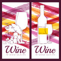 Vector illustration of wine bottle, glass, branch of grape and w Royalty Free Stock Photo