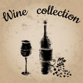 Vector illustration, wine set, hand drawn sketch of wine symbols