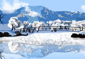 Vector illustration winter landscape Royalty Free Stock Photo