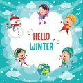 Vector Illustration Of Winter Scene Royalty Free Stock Photo