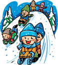 Vector illustration with a winter scene with kids playing Royalty Free Stock Photo