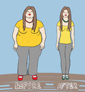Vector illustration of a woman before after diet Royalty Free Stock Photography