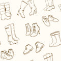 Vector illustration of woman fall and winter shoes, boots set. seamless pattern