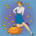 Vector illustration of woman and piggy bank, pop art style Royalty Free Stock Photo