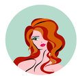 Vector illustration of women long hair style icon, logo women face