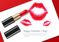 Vector illustration of womens lips kiss and red lipstick. Valentines day greeting card or banner design. Royalty Free Stock Photo