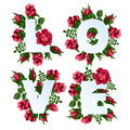 Vector illustration of word Love decorated with red rose flowers.