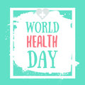 Vector Illustration of World health day concept text design with heart on grunge background