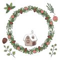 Christmas wreath. Vector illustration. Isolated on white background.