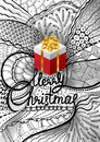 Vector illustration for Xmas in Zentangle style. Lettering Merry Christmas. Hand drawing doodle sketch. Royalty Free Stock Photo