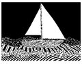 Vector illustration of yacht on sea waves in graphic style