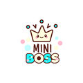 The vector illustration of yellow crown and the mini boss text with stylish kawaii emoji. Gift for boy.
