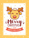 Vector illustration of yellow head of christmas reindeer with ha