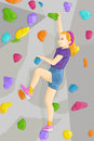 Vector illustration young girl climbing indoor wall Royalty Free Stock Photography