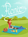 Vector illustration of young happy couple having picnic in the p