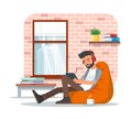 Vector illustration of young man using tablet, flat design Royalty Free Stock Photo