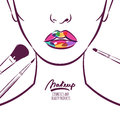 Vector illustration of young woman face with colorful lips and makeup brushes. Royalty Free Stock Photo
