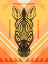 Vector illustration with zebra head hand drawn sketch Royalty Free Stock Photos