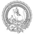 Vector illustration Zen Tangle cat in round frame. Doodle flowers, mandala. Coloring book anti stress for adults. Black white.