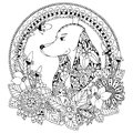Vector illustration Zen Tangle Dog in round frame floral. Doodle Art. Coloring book anti stress for adults. Black white.