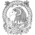 Vector illustration Zen Tangle eagle round frame floral. Doodle flower. Coloring book anti stress for adults. Black white. Royalty Free Stock Photo