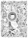 Vector illustration Zen Tangle portrait of a woman in a flower frame. Doodle flowers, forest, garden. Coloring book anti stress fo