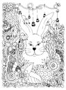 Vector illustration Zen Tangle rabbit in the flowers. Doodle Art. Coloring book anti stress for adults. Black white.