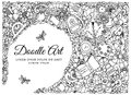 Vector illustration zentangl, frame with school supplies. Back to . Doodle drawing. Meditative exercise. Coloring book Royalty Free Stock Photo