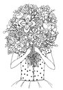Vector illustration zentangl, a girl and bouquet of flowers. Doodle drawing. Meditative exercises. Coloring book anti