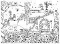 Vector illustration zentangle house in a bottle. The tale doodle, zenart, garden, flowers, tree, owl. House fabulous door