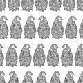 Vector illustration of Zentangle penguins. Seamless pattern of Antarctica. Zen tangle coloring book.