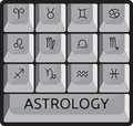 Vector illustration of the zodiac astrology signs keyboard button set Stock Images