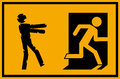 Vector illustration - zombie emergency exit sign with a stick figure silhouette undead chasing a person trying to escape Royalty Free Stock Photo
