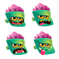Vector illustration of Zombie face emoticons set. Halloween emoji icons.