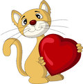 Vector illustrationn of cat holding love heart Royalty Free Stock Photo