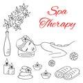 Vector illustrations of Beautiful woman spa stone massage