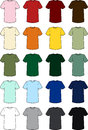 Vector illustrations blank men s tee shirts wide array colors Royalty Free Stock Images