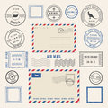 Vector illustrations of letters and postmarks, airmail designs. Antique stamps Royalty Free Stock Photo