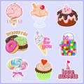 Vector illustrations of lovely stickers food