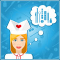 Vector illustrations of a nurses. Nurse, nanny. The girls face. Icon. Flat icon. Minimalism. The stylized girl. Occupation. Royalty Free Stock Photo