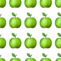 Vector ilustration. Seamless pattern realistic green apple on white background Decoration.